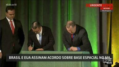 Brasil assina acordo que permite aos EUA lançar satélites da base de Alcântara - Acordo de uso comercial da base foi assinado em Washington e ainda precisa ser aprovado pelo Congresso.