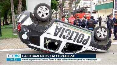Viatura da PM capota no Dionísio Torres e bebê sai ileso de acidente na Maraponga - Registros de capotamento em Fortaleza ao longo desta segunda-feira