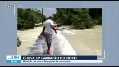 Ponte cede em Garrafão do Norte, no Pará, durante fortes chuvas - A chuva tem trazido prejuídos em municípios da região nordeste do estado.