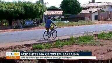 Moradores de Barbalha alertam para riscos de acidentes na CE-293 - Confira outras notícias no g1.com.br/ce