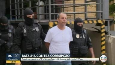 Ex-governador Sérgio Cabral é denunciado pela 29ª vez - As acusações do Ministério Público são corrupção passiva e lavagem de dinheiro. Um doleiro foi preso pela Polícia Federal, em São Paulo.