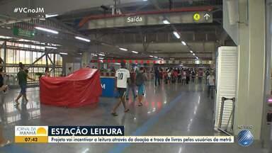 Projeto incentiva a leitura através da doação e troca de livros pelos usuários do metrô - Ação acontece em diversas estações do sistema.