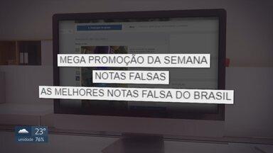 Criminosos anunciam dinheiro falso na internet - Encontramos três perfis em redes sociais de pessoas vendendo notas falsas. Os falsários dizem que elas são muito parecidas com as verdadeiras e que entregam em todo o Brasil.