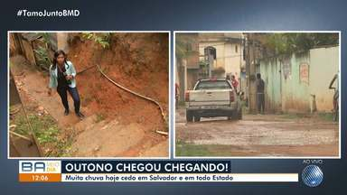 Chuva causa prejuízos e preocupa moradores do Cassange, em Salvador - O primeiro dia do outono chegou com chuva no estado.