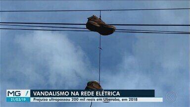 Vandalismo causa prejuízos e interrupções no sistema elétrico de Uberaba - Em 2017, foram cerca de 245 interrupções no Triângulo Mineiro. Cemig pede que população denuncie os casos de vandalismo.