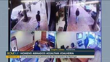 Dois homens assaltam joalheria em Maringá - Crime aconteceu em plena luz do dia no centro de Maringá.
