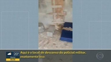 Vídeo mostra base da PM na Boca do Mato em péssimas condições - A Polícia Militar informou que constrói uma estrutura na comunidade.
