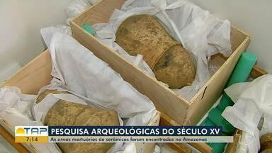 Urnas mortuárias encontradas no Amazonas são trazidas para Santarém para serem estudadas - Acadêmicos de Arqueologia,da Ufopa, estão analisando as peças. As urnas são do século XV.