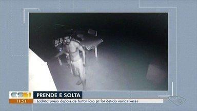 Suspeito é preso após arrombar loja na Reta da Penha, em Vitória - Uma comparsa dele fugiu e não foi localizada. A dupla levou a caixa registradora, celulares e quase R$ 1 mil em dinheiro no furto.