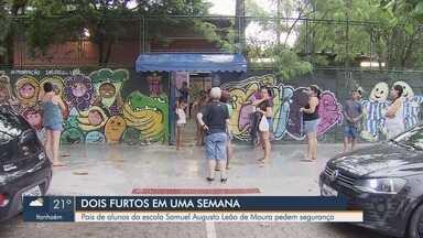 Pais pedem segurança após furtos em escola municipal de Santos - Pais e alunos da Escola Municipal Samuel Augusto Leão De Moura, na Areia Branca, reclamam da falta de segurança.