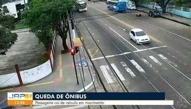 Vídeo mostra passageira caindo de ônibus em movimento no Centro de Macapá - Mulher sofreu ferimentos em uma das pernas, braço esquerdo e cabeça. Empresa Sião Thur informou que irá ressarcir à vítima.