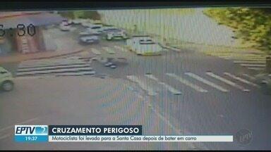 Câmera de segurança flagra colisão entre carro e moto em Ribeirão Preto - Acidente ocorreu no cruzamento das ruas Conselheiro Dantas e Santos Dumont.