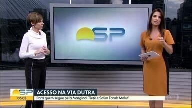 Novo acesso na Via Dutra é liberado - Concessionária construiu alça para pista expressa no km 228 na marginal Tietê sentido Rio de Janeiro