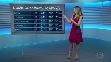 Veja como fica o tempo neste domingo (31) - Previsão do tempo traz alerta de chuva forte.