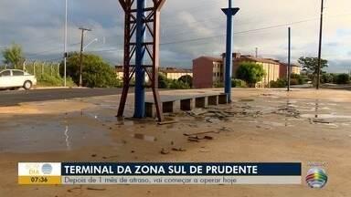 Terminal rodoviário da zona sul começa a funcionar, em Presidente Prudente - Depois de um mês de atraso, Prefeitura afirma que as obras foram concluídas.