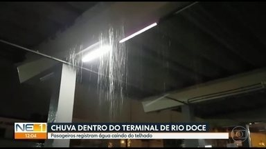 Imagens mostram goteiras no terminal de ônibus de Rio Doce, em Olinda - Consórcio informou que calhas da cobertura ficaram entupidas e que vai enviar equipe ao local