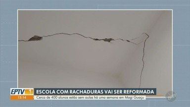 Alunos de escola interditada em Mogi Guaçu ainda estão sem aulas - Escola com rachaduras será reformada e cerca de 400 alunos continuam sem aulas.