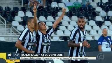 Botafogo só empata com Juventude: 1x1 - Jogo foi pela terceira fase da Copa do Brasil e agora o time alvinegro vai ter que vencer em Caxias do Sul.
