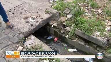 Buracos e escuridão causam transtornos para moradores em Olinda - Problema ocorre na Rua Severina Paraíso, no bairro de São Benedito.