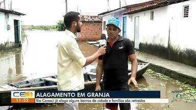 Rio Coreaú, em Granja, alaga casas e famílias são removidas - Confira outras notícias no g1.com.br/ce
