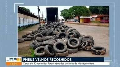 Foram recolhidos pela secretaria de manutenção urbanística pneus velhos jogados nas ruas - Cerca de 30 toneladas foram retiras das ruas de Macapá ontem.