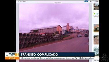 Tô na Rede: moradora reclama de caminhões e placa que ficam na Av. 13 de Setembro - Reclamação foi registrada pelo aplicativo da Rede Amazônica.