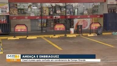 Casal é preso após confusão em conveniência na capital de MS - Caso foi na madrugada deste sábado (6), em um posto de combustíveis.