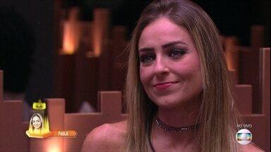 Tiago Leifert consagra Paula como líder na semana - Apresentador parabeniza os brothers pela Prova de Resistência