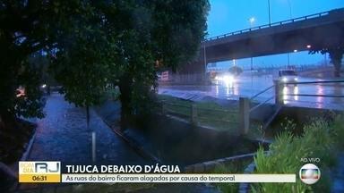 Volume do Rio Maracanã continua alto, mesmo com diminuição da chuva - Previsão é de mais chuva forte durante o dia. Situação na área preocupa.