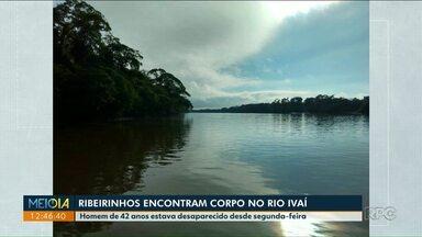 Corpo de homem que estava desaparecido é encontrado no Rio Ivaí - Ele tem 42 anos e o corpo foi encaminhado para o IML de Paranavaí.