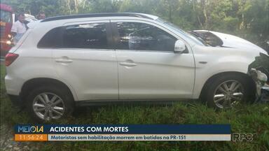 Motoristas sem habilitação morrem em acidentes na PR-151, nos Campos Gerais - Acidentes aconteceram no domingo (14), na região de São João do Triunfo.