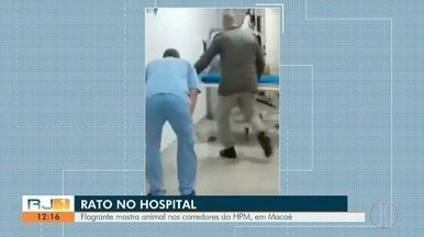 Flagrante mostra rato correndo pelos corredores do HPM, em Macaé - Prefeitura diz que se trata de uma 'ocorrência pontual'.