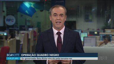 Beto Richa vira réu pela terceira vez na operação Quadro Negro - Dessa vez, o Ministério Público apontou crimes de corrupção passiva e prorrogação indevida de contratos de licitação em obras de dois colégios de Guarapuava.