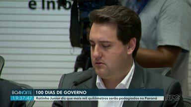 Ratinho Júnior faz avaliação dos 100 dias de governo - Governador também fez anúncio de obras no estado.