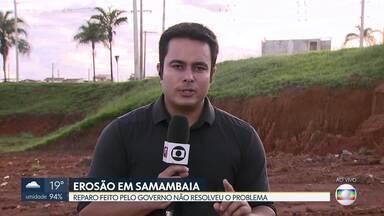 Erosão assusta moradores de Samambaia - A erosão fica na quadra 425, à margem de uma importante pista da cidade, a 1ª Avenida Norte. Novacap informou que ainda não há previsão de reparos no local por conta da chuva.
