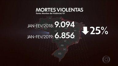 """Levantamento mostra que o número de homicídios no Brasil caiu 25% no início de 2019 - O Brasil registrou uma queda expressiva no número de assassinatos nos dois primeiros meses de 2019. É o que mostra o """"monitor da violência"""", uma parceria do portal G1 com o FBSP e o Núcleo de Estudos da Violência da USP."""