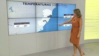 Confira a previsão do tempo para esta sexta e fim de semana no ES - Confira a previsão do tempo para esta sexta e fim de semana no ES.
