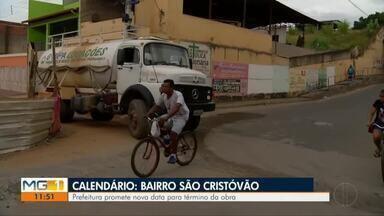 Calendário: Moradores do Bairro São Cristóvão reclamam de obra atrasada em Valadares - Prefeitura da cidade promete nova data para término da obra no Bairro São Cristóvão.