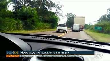 Vídeo mostra motoristas fazendo ultrapassagem em ponto de faixa contínua na PR-317 - O flagrante foi feito na região de Maringá.