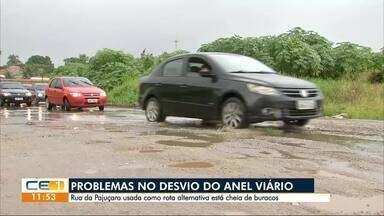 Motoristas sofrem com buracos nos desvios do Anel Viário - Confira outras notícias no g1.com.br/ce