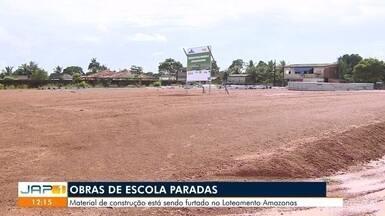 Obras de uma escola de ensino infantil estão paradas há cerca de três meses, em Macapá - Material de construção está sendo furtado do prédio no Loteamento Amazonas.