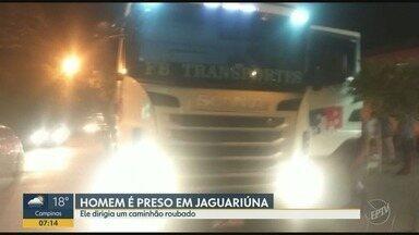Homem é preso em Jaguariúna por suspeita de roubo de caminhão - O caminhão estava carregado com óleo vegetal.