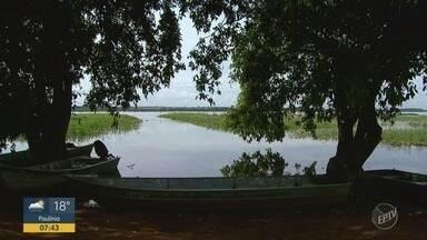 A cheia do Rio Grande muda a rotina dos moradores de Colômbia - O nível já passou dos sete metros