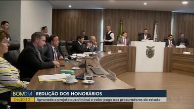 Aprovado o projeto que diminui o valor pago aos procuradores do estado - O projeto foi aprovado pelos deputados estaduais.