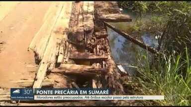 Ponte precária preocupa motoristas e pedestres de Sumaré - Estrutura serve como rota a diversos motoristas do município e inclusive para ônibus escolares.