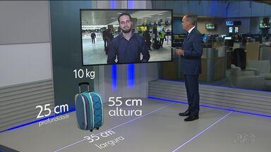 Ficou mais rígida a fiscalização das bagagens de mão nos aeroportos - A mala que vai no compartimento interno do avião pode pesar no máximo 10 kg e ter medidas específicas.