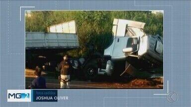 Após acidente, carreta fica atravessada na BR-050 em Uberaba - De acordo com a Polícia Rodoviária Federal, o motorista foi socorrido para o hospital. Trecho ficou interditado durante cerca de 1h 30.
