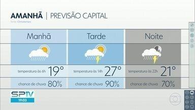 Semana segue com calor e chuva - Temperatura deve chegar a 27 graus nesta quinta-feira, 02.
