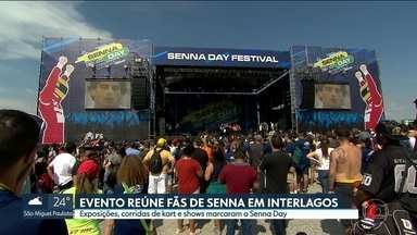 """Autódromo de Interlagos reúne milhares de pessoas em homenagem à Ayrton Senna - """"Senna Day"""" teve exposições, corridas e shows. Os 25 anos da morte do piloto também foi lembrado em Ímola, na Itália."""