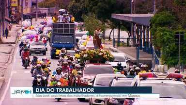 São José, padroeiro dos trabalhadores, é homenageado em Manaus - Carreata de fiéis cruza capital.